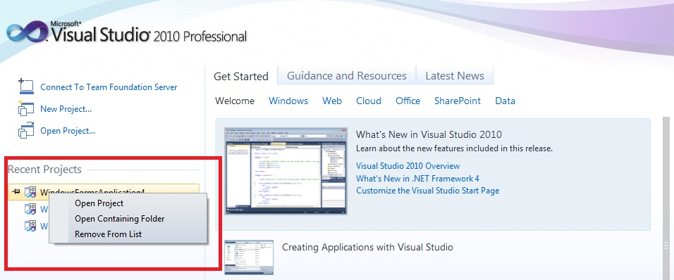 Start Page Improvements in Visual Studio 2010