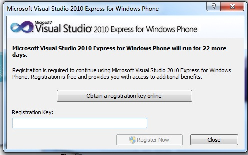Microsoft Visual Studio 2010 Express for Windows Phone in a trial mode