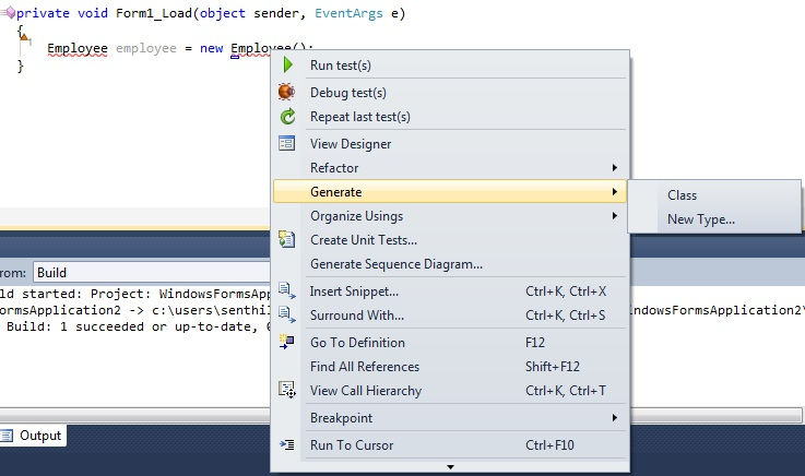 Using Generate from Usage feature in Visual Studio 2010