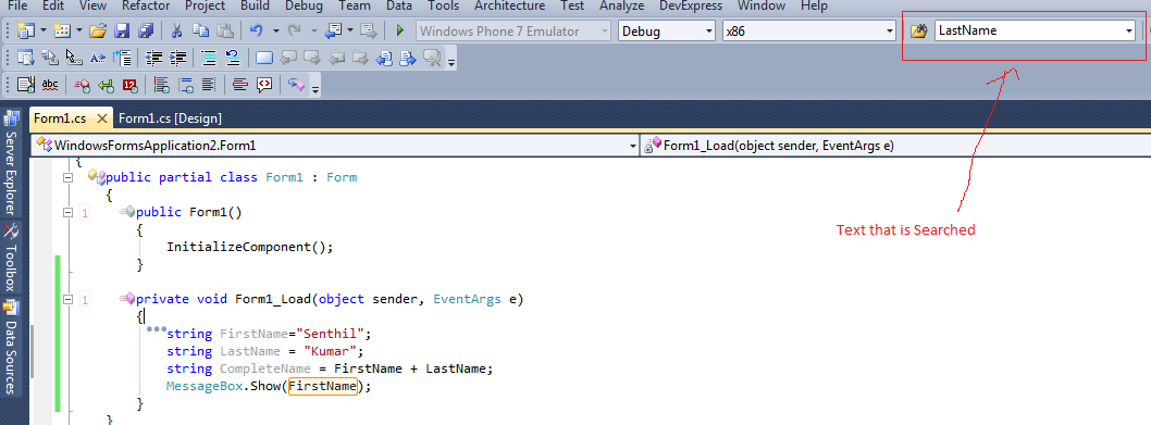 Search the Selected Text in the Sourcecode without using Find Window in Visual Studio 2010