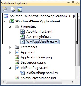 How to change the Start Page of the Windows Phone 7 Application in Visual Studio 2010?