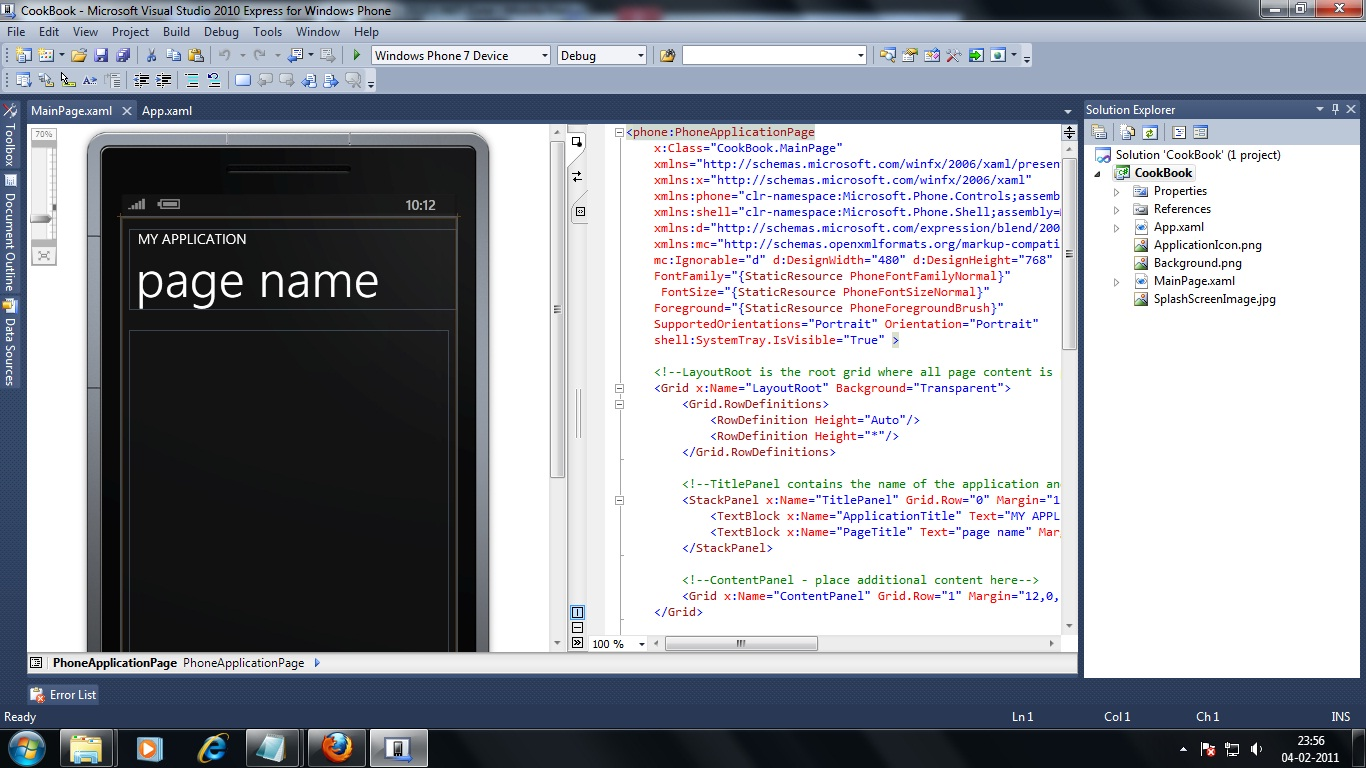 How to change the Default view of the Windows Phone form in Visual Studio 2010 ?