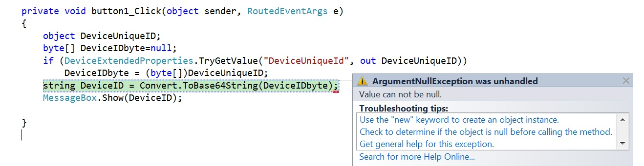 How to get the UniqueID of the Windows Phone device using C# ?