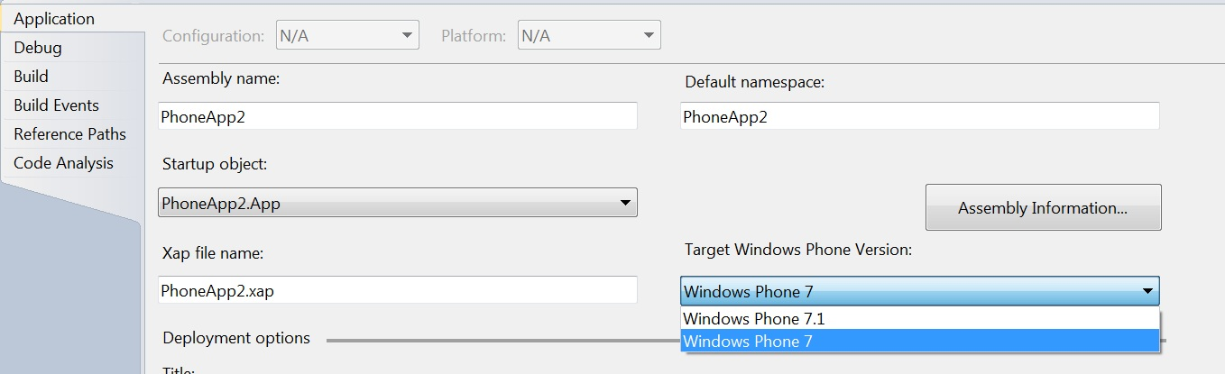 Target Different versions of Windows Phone with the Windows Phone 7.1 SDK