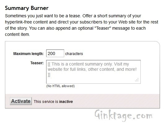 How to Display only Summary in Feed Burner RSS Feed?