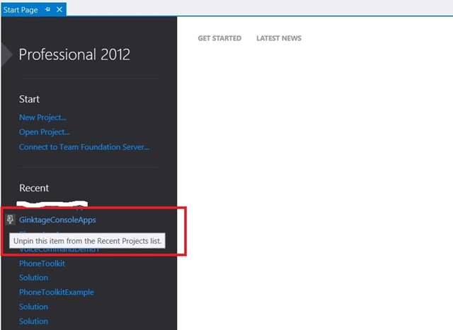 Visual Studio 2012 Tips and Tricks – Pin & UnPin the Project in the Start Page