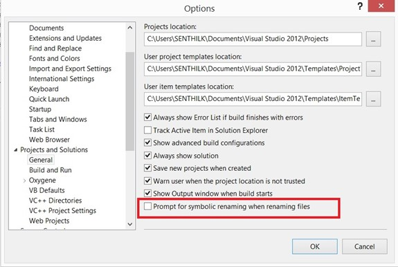 Visual Studio 2012 Tips and Tricks - Enable/Disable Message Box on Automatic Symbol Renaming