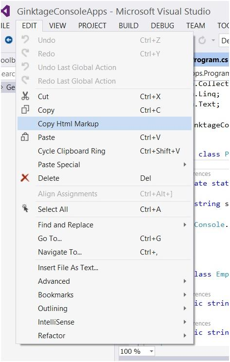 Visual Studio 2013 Tips and Tricks - Copy HTML Markup Feature with Productivity Power Tool 2013