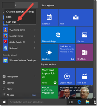 How to Sign out of Windows 10 PC from the Start menu ?