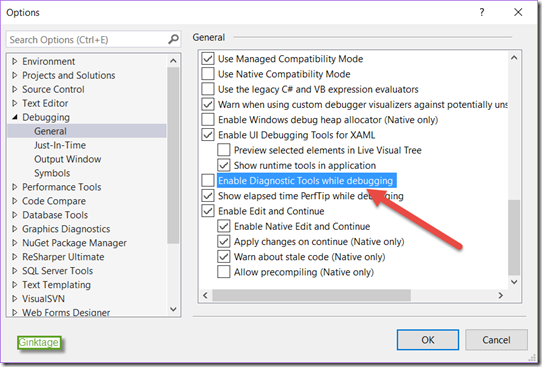 How to disable Diagnostic Tools in Visual Studio 2015?